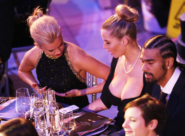 checking big tits in public dinner party