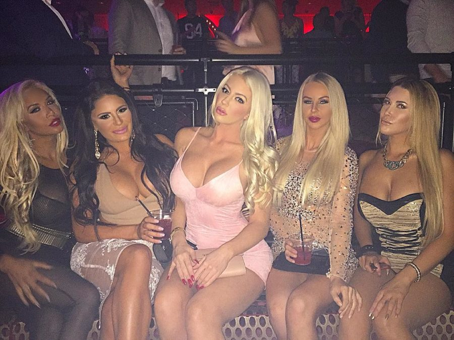 glamour blonde babes in night club party