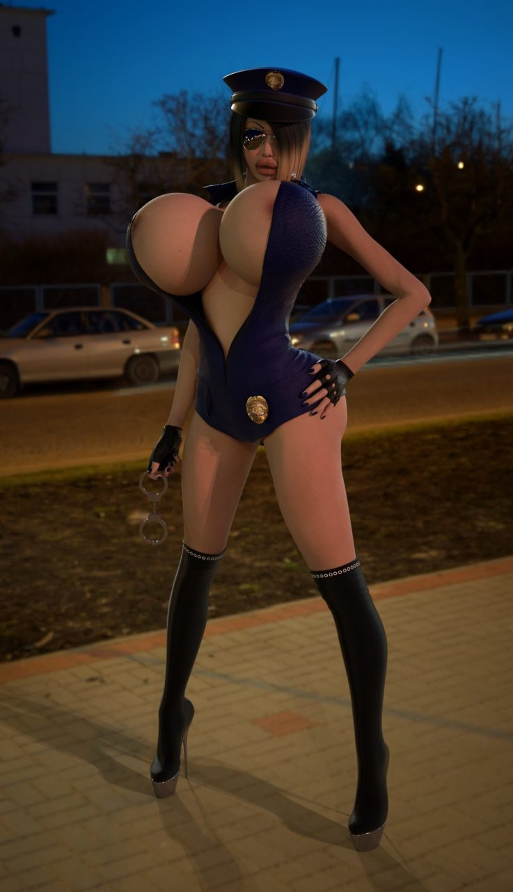 3D Big Tits busty police woman 3d big breasts expansion images