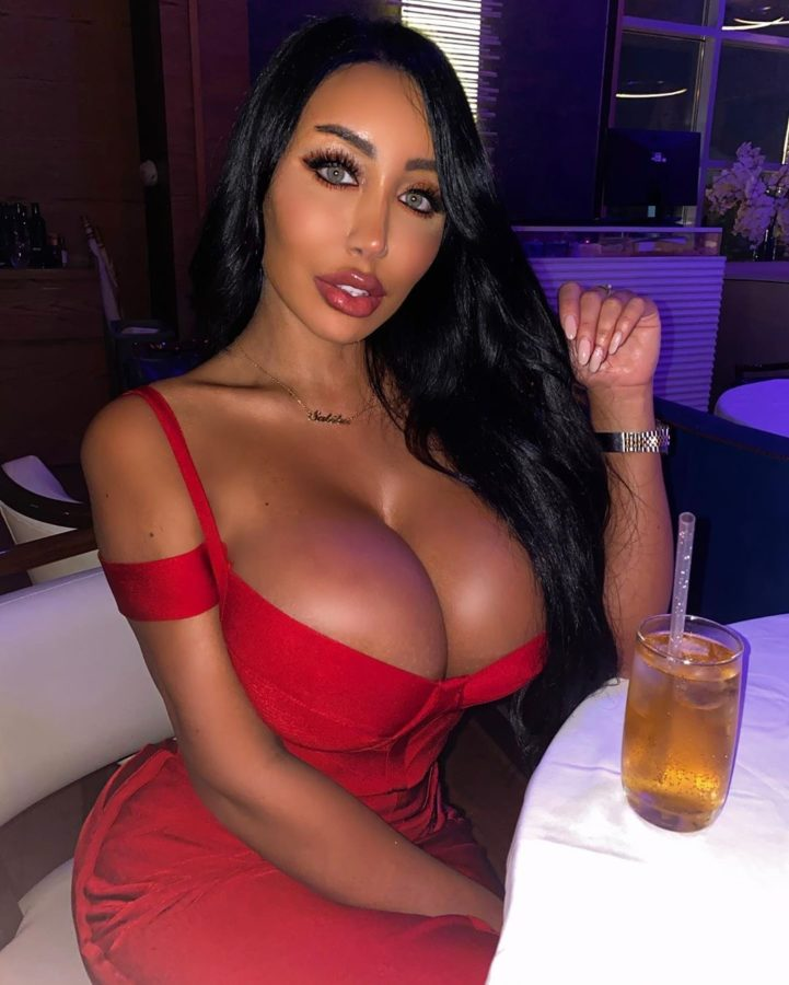 big tit babe in tight red dress