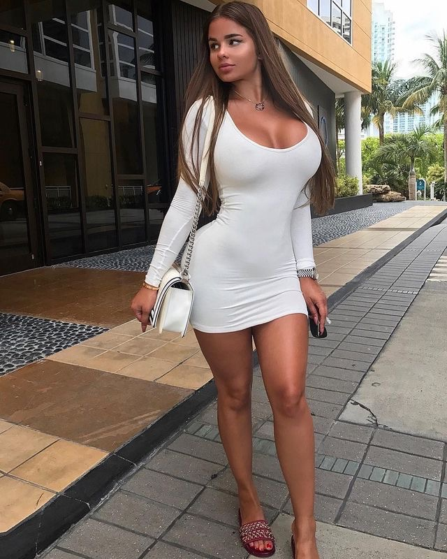 anastasiya Kvitko in tight white dress